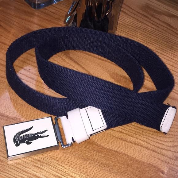 3a4f09202 Lacoste belt white silver buckle black belt size L